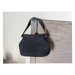 Vintage black corded bag from the 40s